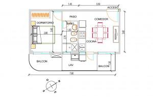 Dormitorio Departamento 2 Ambientes