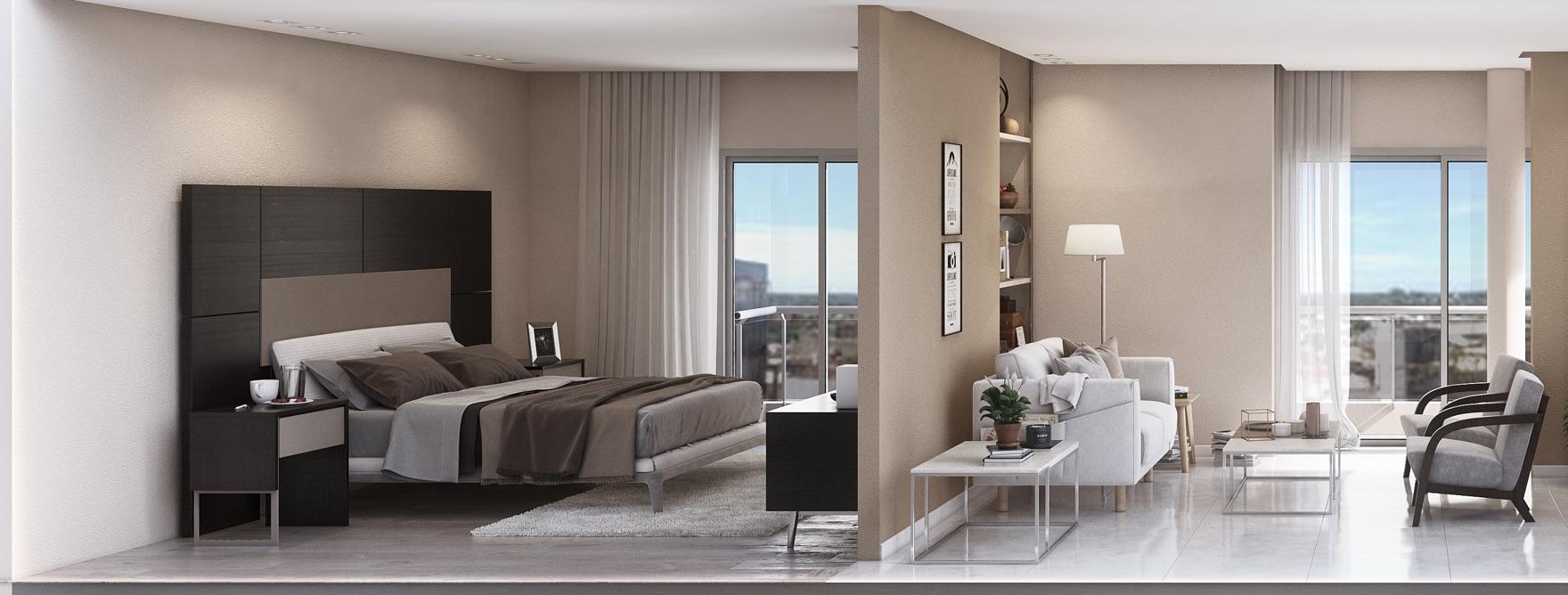 Corte dpto. 3 ambientes, vista dormitorio, living comedor